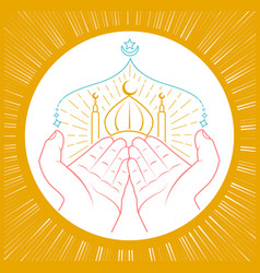 Hands praying namaz vector