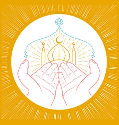 hands praying namaz vector image
