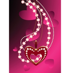 heart necklace and beads vector image vector image