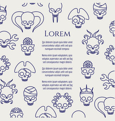 Horror poster with line cute skulls vector