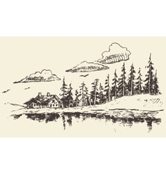 House drawn fir forest meadow real estate sketch vector image