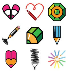 logo icons pencil vector image