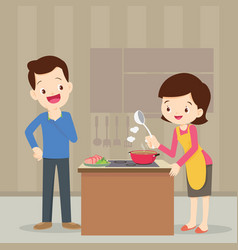 Man and woman in the kitchen vector