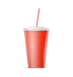 Red paper soda cup template vector image