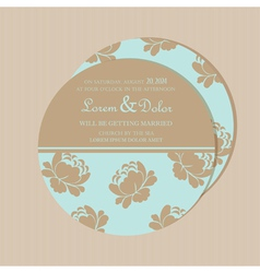 Round invitation card with flowers vector