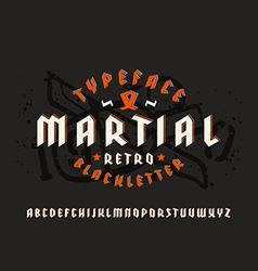 Sanserif font in black letter style and volume vector