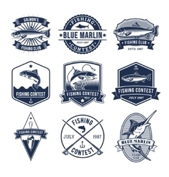 Set of badges stickers on catching fish vector