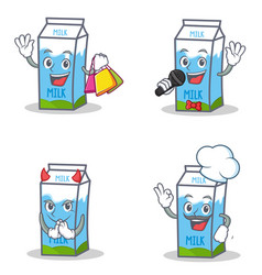 Set of milk box character with shopping karaoke vector