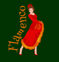 Spanish girl flamenco dancer in red dress vector