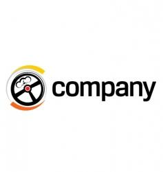 Steering wheel logo vector