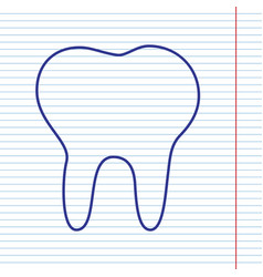 Tooth sign navy line icon on vector