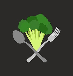 Vegetarian logo Broccoli with a fork and spoon vector image vector image