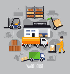 warehouse colored composition vector image vector image