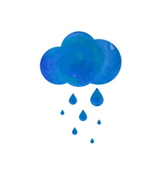 Watercolor rainy cloud vector