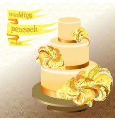 Wedding cake with peacock feathers Golden yellow vector image vector image