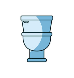 Blue shading silhouette of toilet icon in front vector