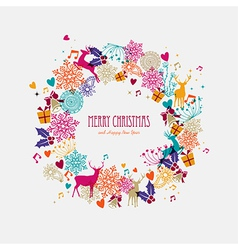 Christmas wreath holiday elements vector image