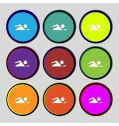Swimming sign icon pool swim symbol sea wave set vector