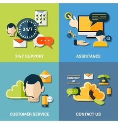 Contact us flat icons composition vector