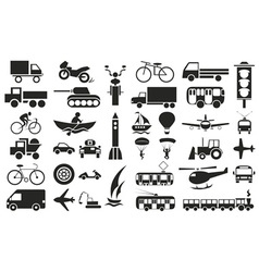Modes of transportation icons on white vector