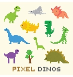 Pixel art dinos object set vector