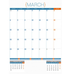 Calendar planner 2016 design template march week vector
