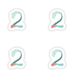 stiker Abstract number 2 logo icon in Blue vector image