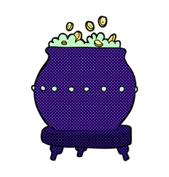 Comic cartoon halloween pot vector