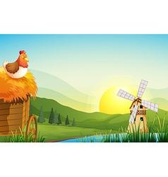 A farm with a barnhouse and a windmill vector