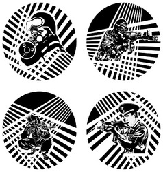 Badges with armed soldiers vector