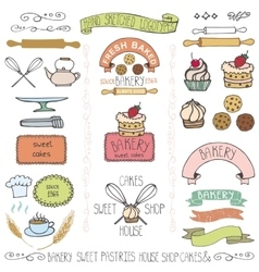 Bakery cakes labels elementsdoodle logo template vector