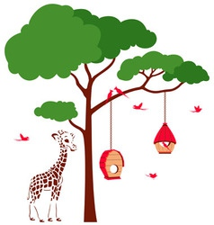 Bird house with birds and giraffe vector