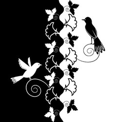 Black white ornament of flowers and birds vector image vector image
