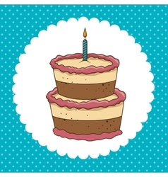 cake candle sweet happy birthday desing isolated vector image