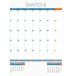 Calendar planner 2016 design template march week vector