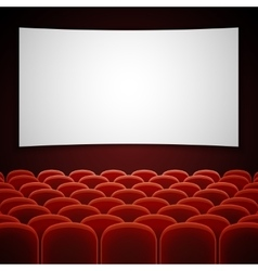 Cinema movie hall with white blank screen vector image