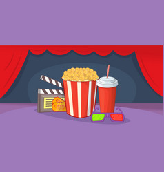Cinema movie horizontal banner cartoon style vector