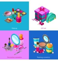 Cosmetics isometric set vector
