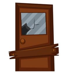 Door with broken glass vector