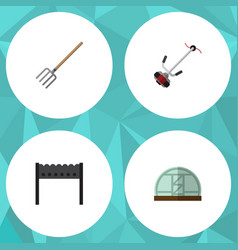 Flat icon dacha set of hothouse barbecue grass vector