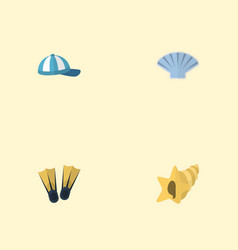 flat icons conch shell hat and other vector image vector image