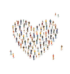 group of people in the shape of a heart vector image vector image