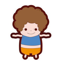 Line color boy with curly hair and rogue face vector