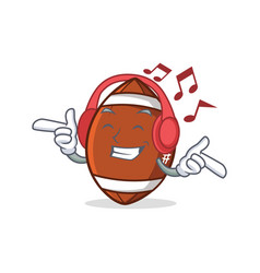 Listening music american football character vector