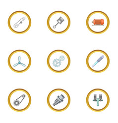 machinery gear icons set cartoon style vector image vector image