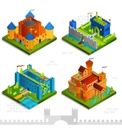 Medieval Castles Isometric Collection vector image