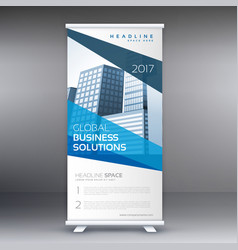 Modern blue standee roll up banner design with vector