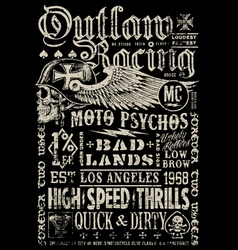 Outlaw racing vintage poster t-shirt graphic vector