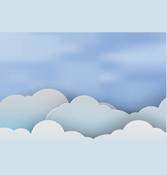 paper art of cloudscape beautiful with blue sky vector image