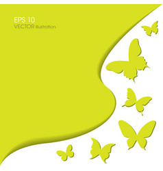 Paper butterflies on a green background vector image vector image